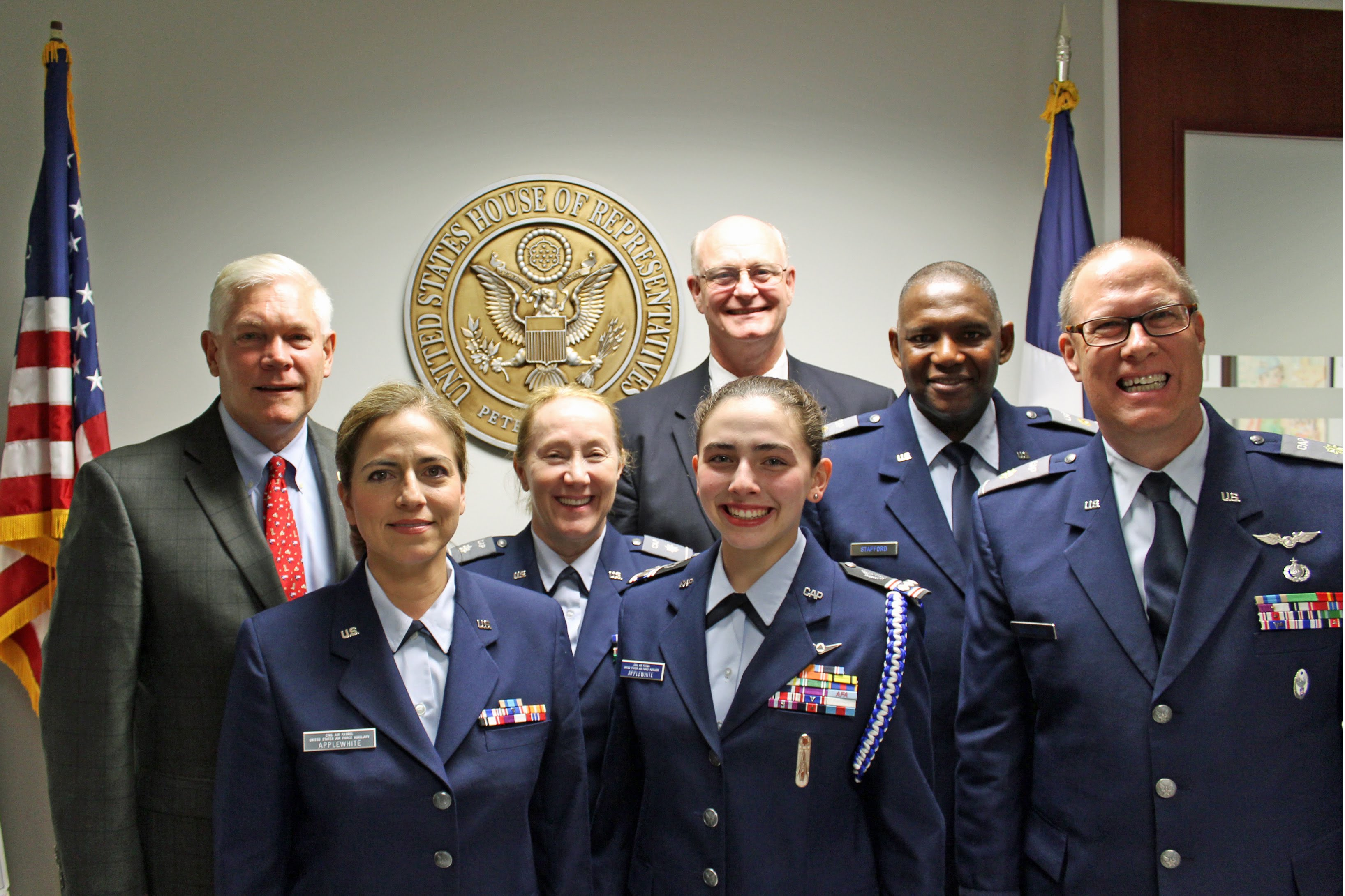 Pictured with U.S. Rep. Pete Sessions are Texas Wing Group III Civil Air Patrol members, left to right: (back row) Lt Col Phillip Crawford, Maj John Stafford, Maj Don Gulliksen, (front row) 1st Lt Blanca Applewhite, Lt Col Kelley Johnson, and C/Capt Madison Applewhite.